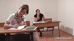FFM French student hard anal fucked and fisted in threesome