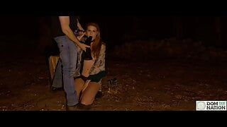 Gagging, spanking, and a wedgie for blonde beauty in woods