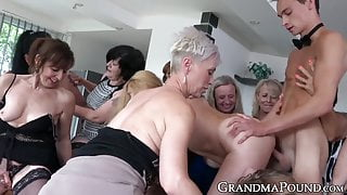 Beautiful matures seduced and banged two toy boys at party