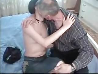 Brunette hair curly amateur Dady seduce cute curly hair daughter with glas and fuck her