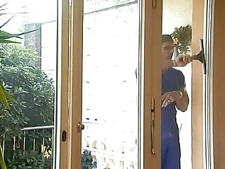Lady cleaner in man tolites porn Pierced blonde milf in stockings fucks the window cleaner