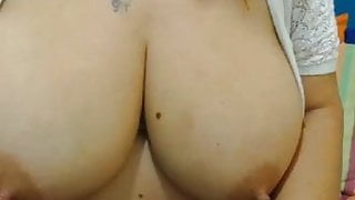 Big breast Milf spreads hairy pussy and big ass