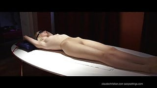 Alice Dumb at strangers place, blindfolded tied orgasm