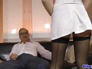 Lara latex jim slip - 18yo english nurse doggystyled in threeway