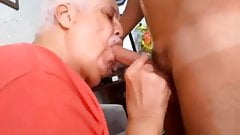 Moustache old chubby loves sucking cock