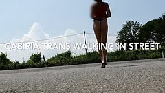 Trans exibitionist in street