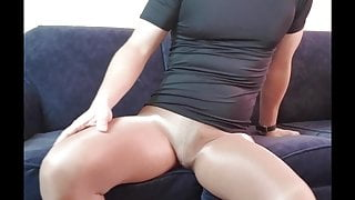 Pantyhose boy masturbating in tights with vibrator