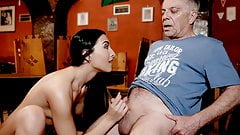 DADDY4K. Sex in the bar with the boyfriend's father