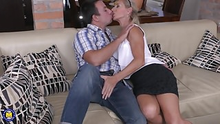 Beautiful mature MILF fucks lucky step son