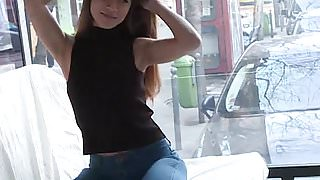 Mona Kim gives a Facefucking Blowjob in Public