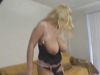 Busty girl giving blowjob Super busty blonde giving blowjob to two guys