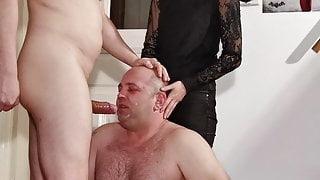 Teen goth dominatrix help her step dad to facefuck slave pt1