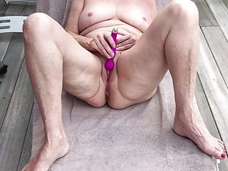 Copper tubing deck penetration Milf naked masturbation on the deck