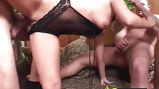 Husband gets wife to ride friend's Dick