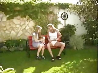 Lesbians two girls Two girls in the garden