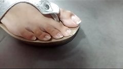 risky feet candid young mother toes in sandals