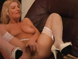 Adonna garter belt open bottom girdle Milf masturbating in her white garter belt and stockings
