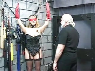 Pinch twist breasts - Bound bdsm whore gets nipples pinched and ass examined by old man