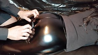 Massage and Cumshot for Ass in Black Shiny Leather Leggings