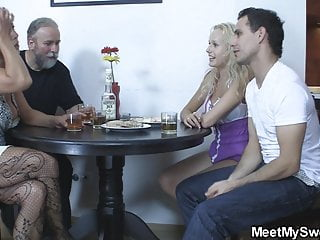 His and her dildo His blonde gf toying mature pussy while old dad fucks her