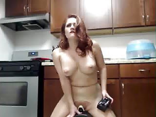 Shemale on sybian Redhead has intense squirting orgasm on sybian