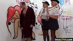 Gloryhole CFNM femdoms wank submissive dicks