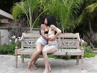Couples erotic kissing videos Two tattooed women do erotic and sloppy kissing outside