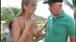 Glasses-wearing wife gets her face and pussy fucked with hard cock