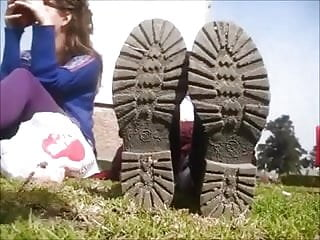 Naked girls in socks and shoes Stinky shoe and socks remove at the park - feet