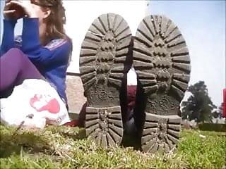 Youtube shoe sock strip barefeet boys Stinky shoe and socks remove at the park - feet
