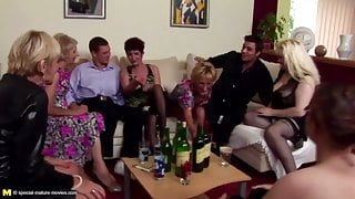 Pissing group sex with mature moms and young stepsons