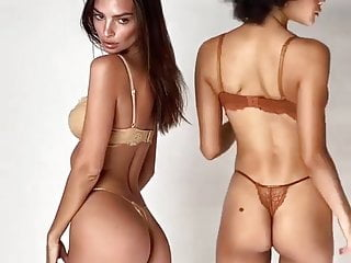 Models lingerie hot video Emily ratajkowski and hot black model