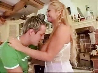 Veronica fucks friends brother in kitchen Veronica gold fucks young guy in kitchen