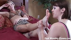 We like to relax with a little foot worshiping