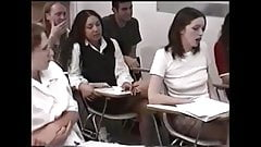 schoolgirls are punished by female teacher in the classr