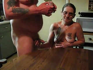 My husband spanked me Make my husband jac off on the kitchen table for me