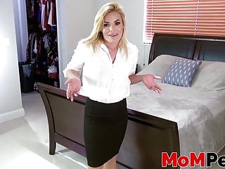 Forced suck mommys tits Big breasted mommy gives an unforgettable dick suck in pov