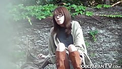 Slim and nerdy Japanese babe removes her clothes in public
