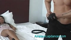 Reverse Lapdance! One guy strips naked for a beautiful teen