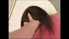 Humiliated amateur toilet slut getting pissed on