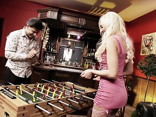 Vintage fusball table After losing at fusball she has to suck his cock