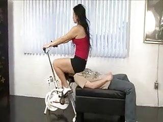 Nude on exercise bike - Exercise bike facesitting