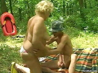 Chubby mature saggy juggs Chubby granny gets pounded outdoor