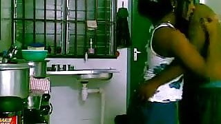 Couple sex in kitchen