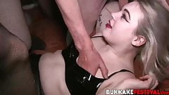 Hot chicks Pixiee Little and Violet drilled hard at orgy
