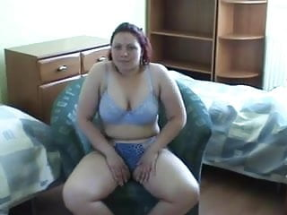 Fat girl pussy pics - Fat girl in blue lingerie masturbates her shaved pussy