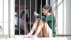 Student upskirt on the balcony II