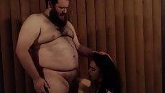Not too Fat dude gets the TS blowjob