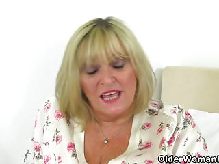 No period tugging uterus tingling breasts British gilf alisha rydes makes her shaven pussy tingle