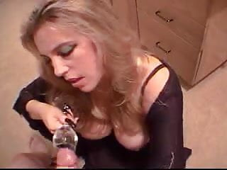 Glass of cum drink - Blonde drinks fresh cum from a glass